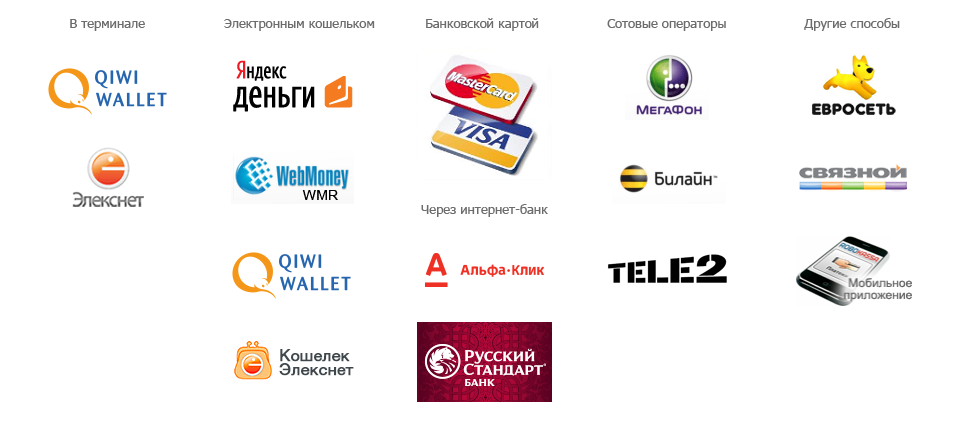 Возможные варианты способов оплаты заказа в интернет-магазине KinderSmile.ru